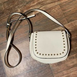 Cream Faux Leather Gold Studded Small Crossbody